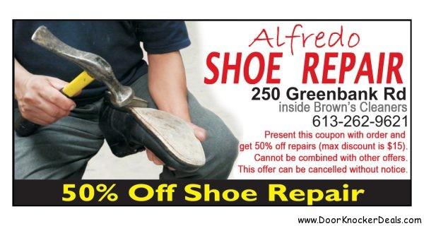 Call Alfredo Shoe Repair 613-262-9621 for shoe repair in Nepean, boot repair, heels, leather, doorknockerdeals.com,