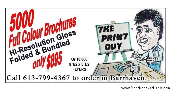 Call The Print Guy in Ottawa 613-799-4367 for door knockers, door hangers, design, printing, distribution, door to door, full, colour, brochures, flyers, postcards, business cards, advertising in Ottawa, books, booklets, directory, sign, stationary, pocket folder, presentation folder, advertising, marketing, creative, full service, web site, website, development, web, hosting, complete, web solutions, Mike Raganold, WICMS Technologies Inc.