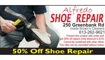 Call Alfredo at 613-262-9621 for shoe repair - Call The Print Guy in Ottawa 613-799-4367 for doorknockerdeals.com, door knockers, door hangers, door hanger delivery, door hanger distribution, design, printing, distribution, door to door, full, colour, brochures, flyers, postcards, business cards, advertising in Ottawa, books, booklets, directory, sign, stationary, pocket folder, presentation folder, advertising, marketing, creative, full service, web site, website, development, web, hosting, complete, web solutions, Mike Raganold, WICMS Technologies, Ottawa, Barrhaven, Kanata, Stittsville, Nepean, Orleans