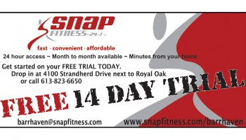 print this page and take this coupon to Snap Fitness in Barrhaven presented by DoorKnockerDeals.com presents this 14 day free trial at Snap Fitness 4100 Strandherd Drive in Barrhaven, fitness, health club, gym, fitness centre, at DoorKnockerDeals.com - get free coupons, discounts, deals, advertising in Ottawa, Ontario, Barrhaven, Old Barrhaven, Longfields, Stonebridge, Kanata, Nepean, Orleans, Riverside South, Trend Arlington, Westboro, to add your deal, for advertising call 613-799-4367 Mike Raganold at DoorKnockerDeals.com, door hangers, flyers, postcards, brochures, business cards, great service, best price with Door Knocker Deals